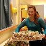 Marta serves the food