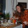 Au pair Oksana from Ukraine has just finished decorating the cake